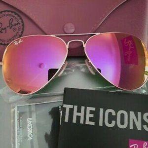 RayBan Aviator Gold Frame Hot Pink Mirror Sunglass